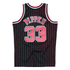Chicago Bulls Pippin 33 Pinstripe Swingman Jersey Black S, Black, rebel_hi-res