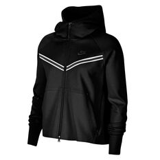 Nike Womens Windrunner Tech Fleece Full Zip Hoodie Black XS, Black, rebel_hi-res