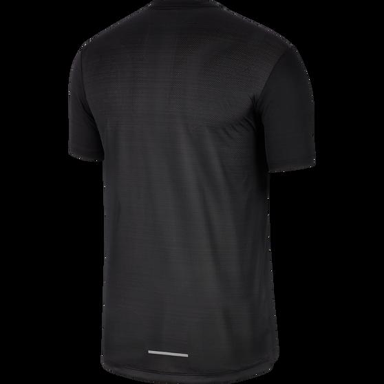 Nike Mens Dri-FIT Miler Short Sleeve Running Top, Black / Grey, rebel_hi-res