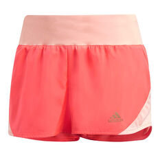 adidas Womens 3-Stripes Run It Shorts Orange XS, Orange, rebel_hi-res