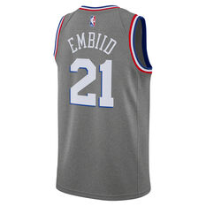 Nike Philadelphia 76ers Joel Embiid 2019 Mens City Jersey Grey S, Grey, rebel_hi-res
