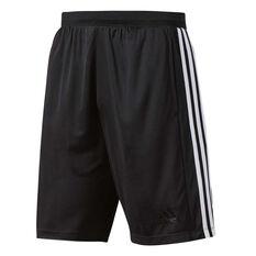 adidas Mens D2M 3 Stripe Training Shorts Black / White S Adult, Black / White, rebel_hi-res