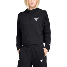 Under Armour Womens Project Rock Terry Hoodie, Black, rebel_hi-res