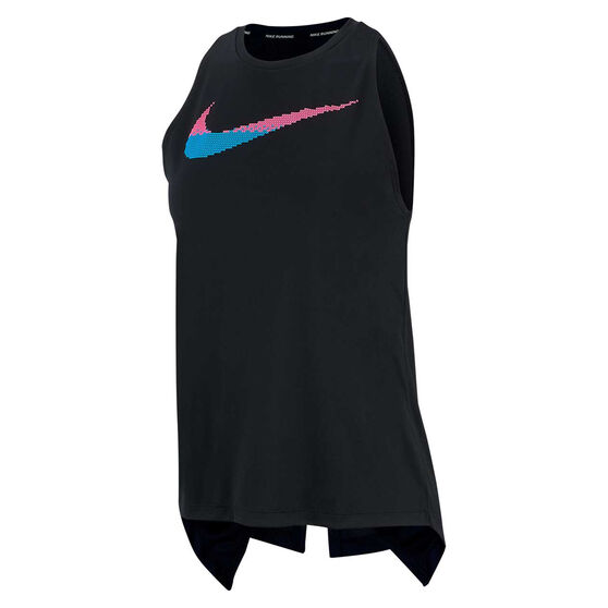 Nike Womens Dri FIT Graphic Running Tank, Black, rebel_hi-res