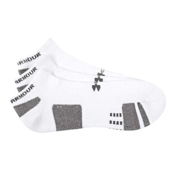 Under Armour HeatGear No Show 3 Pack Socks, White / Black, rebel_hi-res