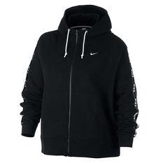 Nike Womens Sportswear Full Zip Logo Hoodie Plus Black XL, Black, rebel_hi-res