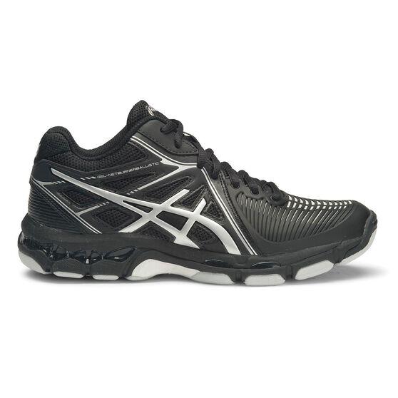 Asics Gel Netburner Ballistic MT Womens Netball Shoes, Black / Silver, rebel_hi-res