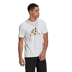 adidas Foil Logo Mens Graphic Tee White M, White, rebel_hi-res