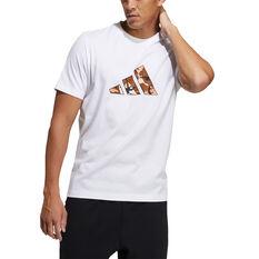adidas Mens Graphic Badge of Sport Tee White S, White, rebel_hi-res