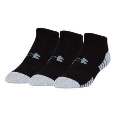 Under Armour Kids HeatGear No Show Socks 3 Pack Black M, Black, rebel_hi-res
