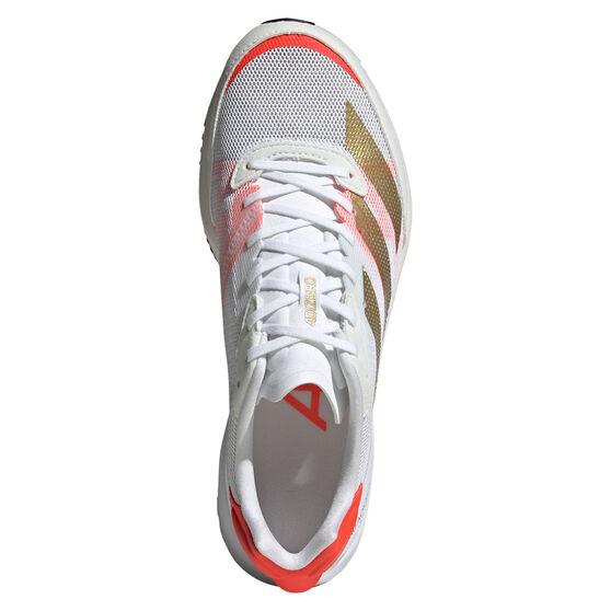adidas Adizero Adios 6 Womens Running Shoes, White/Gold, rebel_hi-res