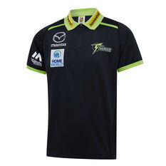 Sydney Thunder 2019/20 Mens Media Polo Black S, Black, rebel_hi-res