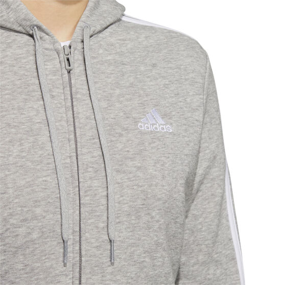 adidas Womens Essentials Full Zip Hoodie, Grey, rebel_hi-res