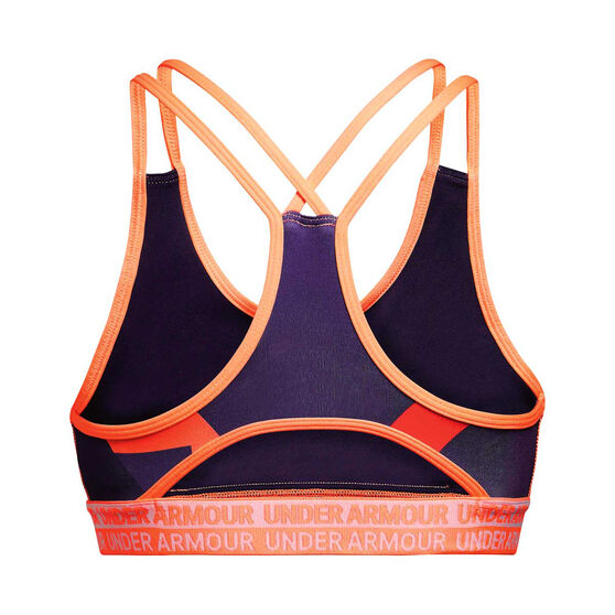 Under Armour Girls HeatGear Armour Sports Bra Purple / Orange XL, Purple / Orange, rebel_hi-res