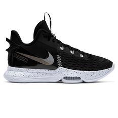 Nike LeBron Witness V Black Metallic Silver Basketball Shoes Black US 7, Black, rebel_hi-res