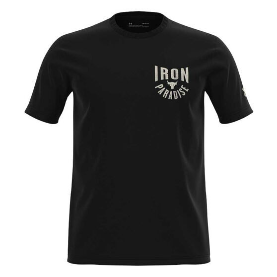Under Armour Mens Project Rock Iron Paradise Tee, Black, rebel_hi-res