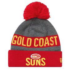 Gold Coast Suns 2018 New Era Jake Beanie Grey OSFA, , rebel_hi-res