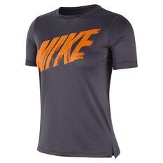 e2201277 Nike Dri-FIT Boys Short Sleeve Training Top Grey / Orange XS, ...