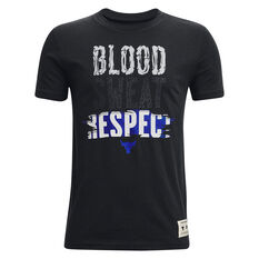Under Armour Boys Project Rock Blood Sweat Respect Tank Black/Blue XS, Black/Blue, rebel_hi-res