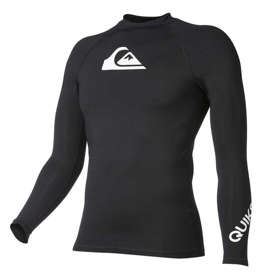 Quiksilver Boys All Time Long Sleeve Rash Vest, Black, rebel_hi-res