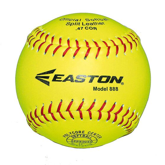 Easton 888 Leather Neon Softball Ball Yellow, , rebel_hi-res