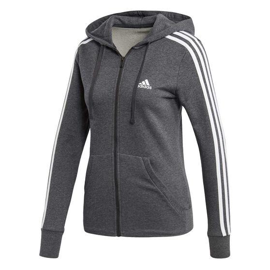 adidas Womens Essentials 3 Stripes Full Zip Hoodie Grey   White XS ... 2b267f7cb9