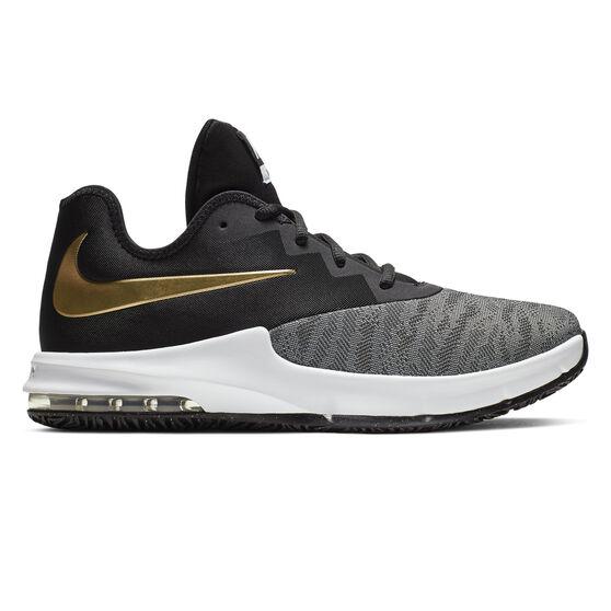 Nike Air Max Infuriate III Low Mens Basketball Shoes, Black / Gold, rebel_hi-res