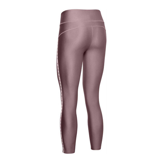 Under Armour Womens HeatGear Vertical Branded Cropped Tights, Pink, rebel_hi-res