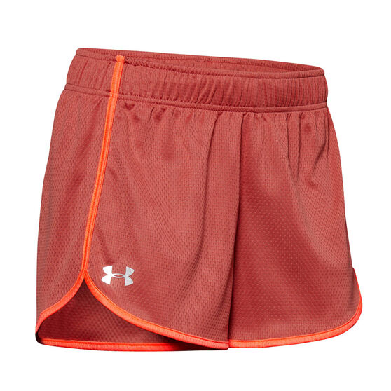 Under Armour Womens UA Tech Mesh 3in Shorts, Pink, rebel_hi-res