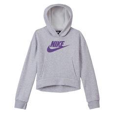 Nike Girls VF NSW Club Fleece Hoodie Grey XS, Grey, rebel_hi-res