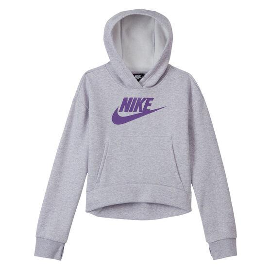 Nike Girls VF NSW Club Fleece Hoodie, Grey, rebel_hi-res