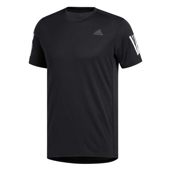 adidas Mens Own the Run Tee, Black / White, rebel_hi-res