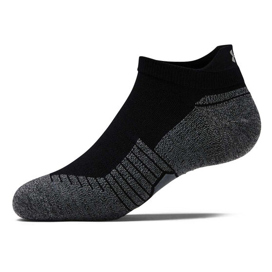 Under Armour Kids Run No Show Tab Socks, Black / White, rebel_hi-res
