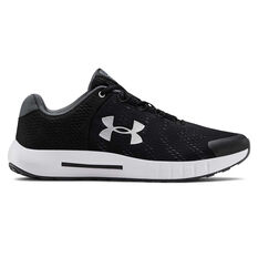 Under Armour Pursuit Kids Running Shoes Black / White US 4, Black / White, rebel_hi-res