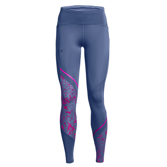 Under Armour Womens Fly Fast 2.0 Print Tights, Blue, rebel_hi-res