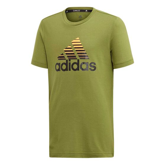 adidas Boys Training Prime Tee, Green / Gold, rebel_hi-res