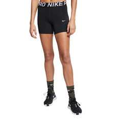 Nike Pro Womens 3in Shorts, Black / White, rebel_hi-res