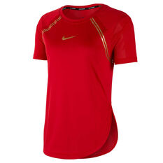 Nike Womens Glam Dunk Running Tee Red XS, Red, rebel_hi-res