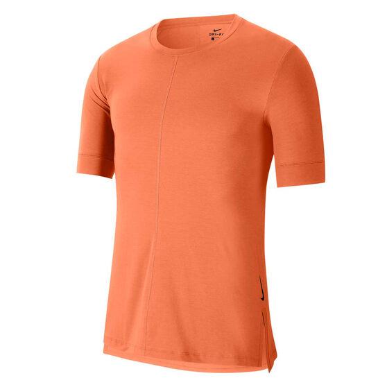 Nike Mens Dri-FIT Yoga Tee, Orange, rebel_hi-res