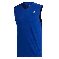 adidas Mens Response Sleeveless Running Tee Blue S, Blue, rebel_hi-res