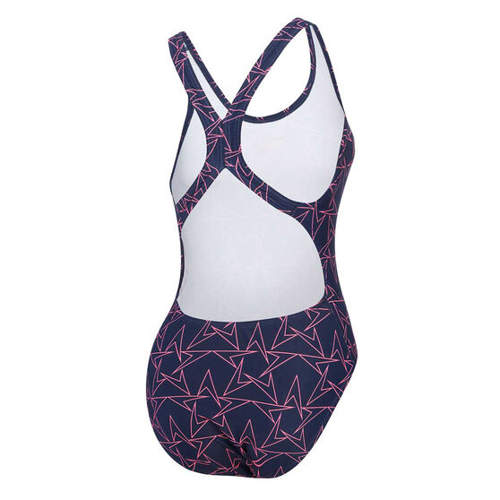 Speedo Womens Boom Pullback One-Piece Swimsuit, Navy, rebel_hi-res