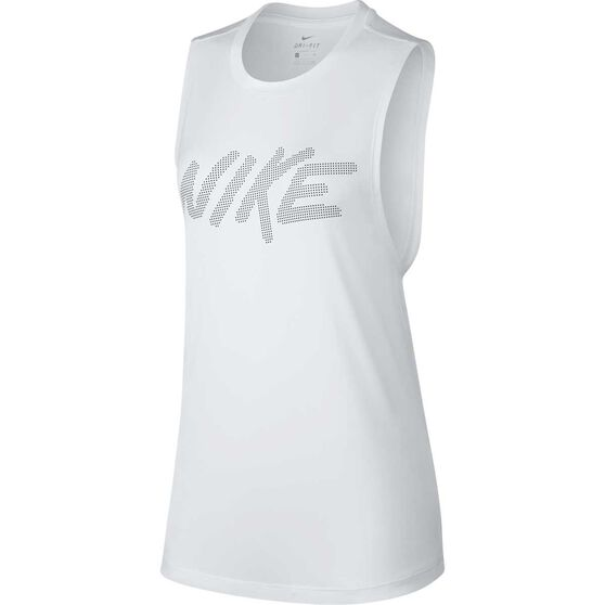 Nike Womens Dry Muscle Tank, White, rebel_hi-res