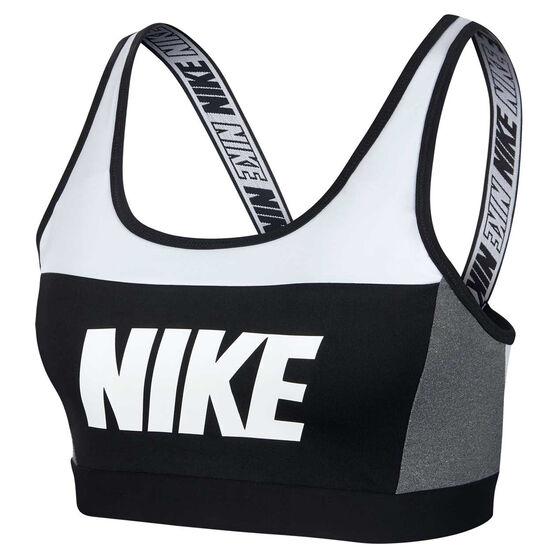 Nike Womens Distort Classic Sports Bra, White / Black, rebel_hi-res