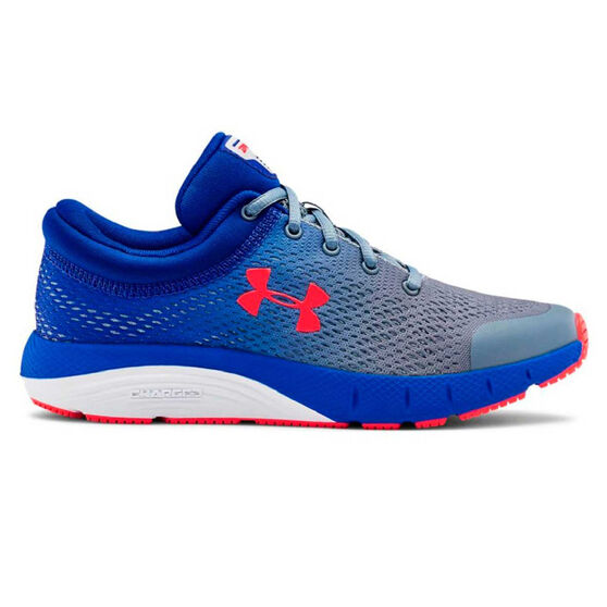 Under Armour Charged Bandit 5 Kids Running Shoes, Blue / Red, rebel_hi-res