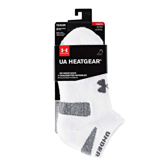 Under Armour Kids HeatGear No Show Socks White, , rebel_hi-res
