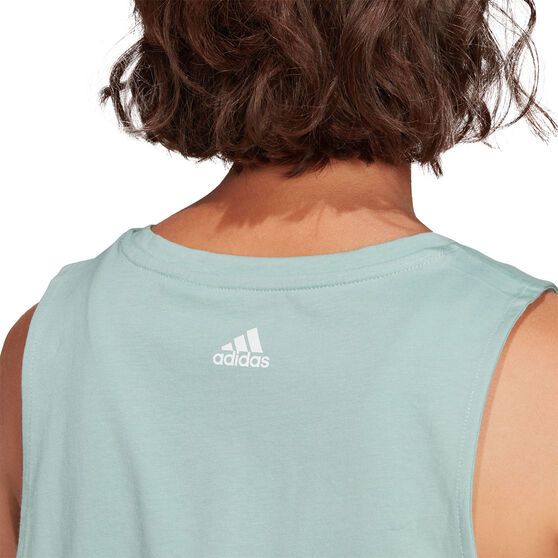 adidas Womens Essentials Stacked Logo Tank, Green, rebel_hi-res