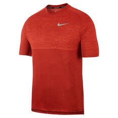 Nike Mens Dry Medalist Short Sleeve Running Top Red S, Red, rebel_hi-res