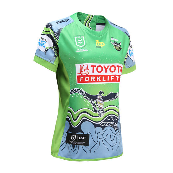 Canberra Raiders 2021 Womens Indigenous Jersey Green 14, Green, rebel_hi-res
