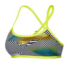 Speedo Womens Sound Waves Cross Back Crop Bikini Top Green / Multi 8, Green / Multi, rebel_hi-res