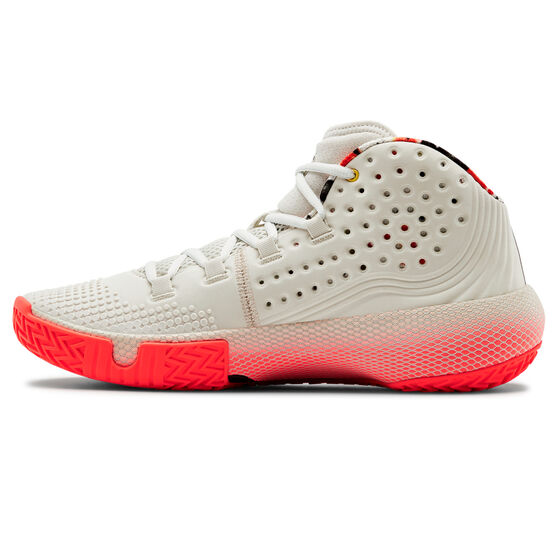 Under Armour HOVR Havoc 2 Mens Basketball Shoes, White/Red, rebel_hi-res